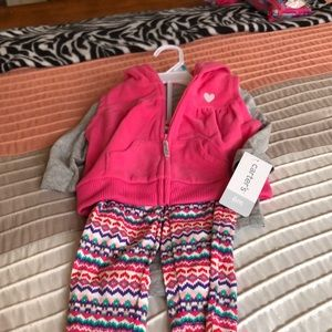 Carters girls 3pc 6-9 months pink outfit, NWT